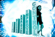 3d woman with basic rules of growth illustration Royalty Free Stock Photos
