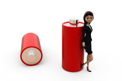 3d woman battery concept Royalty Free Stock Photography