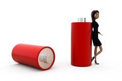 3d woman battery concept Royalty Free Stock Photos