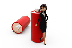 3d woman battery concept Royalty Free Stock Images