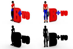 3d woman be positive concept Collections With Alpha And Shadow Channel Royalty Free Stock Photo