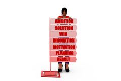 3d woman behind board concept Royalty Free Stock Photography