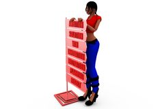 3d woman behind board concept Stock Image