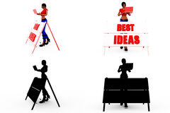 3d woman best idea concept Collections With Alpha And Shadow Channel Stock Images