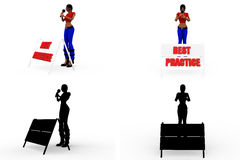 3d woman best practise Concept Collections With Alpha And Shadow Channel Stock Image