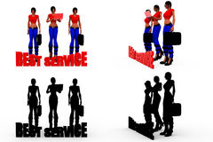 3d woman best service concept Collections With Alpha And Shadow Channel Stock Photos