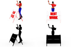 3d woman best work concept Collections With Alpha And Shadow Channel Royalty Free Stock Photography