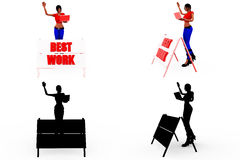 3d woman best work concept Collections With Alpha And Shadow Channel Royalty Free Stock Image