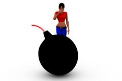 3d woman big bomb concept Royalty Free Stock Image