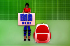 3d woman big deal illustration Royalty Free Stock Photos
