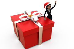 3d woman big gift concept Royalty Free Stock Photography