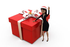3d woman big gift concept Royalty Free Stock Photo