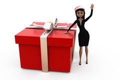 3d woman big gift concept Royalty Free Stock Image