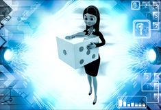 3d woman with big golden dice illustration Royalty Free Stock Photography