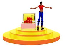 3d woman big idea concept Royalty Free Stock Photo