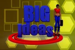 3d woman big ideas illustration Royalty Free Stock Photo
