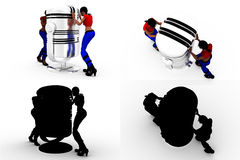 3d woman with big mice Concept Collections With Alpha And Shadow Channel Royalty Free Stock Photography