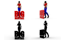 3d woman big mistake Concept Collections With Alpha And Shadow Channel Stock Photos