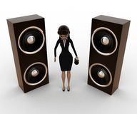 3d woman with big music speaker and mic concept Stock Images