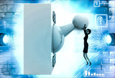 3d woman with big on off lever switch illustration Royalty Free Stock Photo