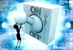 3d woman with big on off lever switch illustration Royalty Free Stock Image