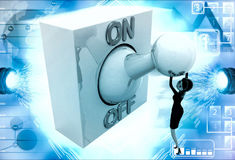 3d woman with big on off lever switch illustration Stock Images
