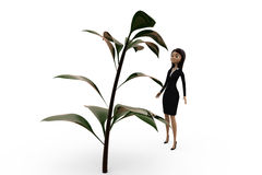 3d woman with big plant concept Stock Photo