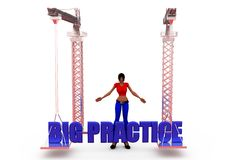 3d woman big practice concept Royalty Free Stock Photography