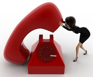 3d woman with big red telephone concept Royalty Free Stock Images