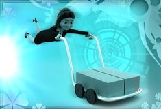 3d woman with blocks in trolley illustration Stock Image