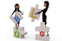 3d woman blog puzzle concept Royalty Free Stock Photo
