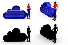 3d woman blue cloud concept Collections With Alpha And Shadow Channel Stock Images