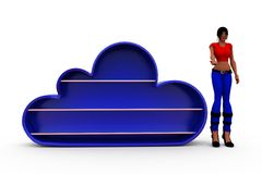 3d woman blue cloud concept Royalty Free Stock Photo