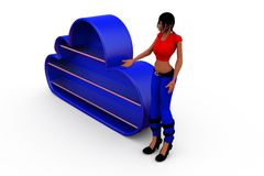 3d woman blue cloud concept Royalty Free Stock Photos