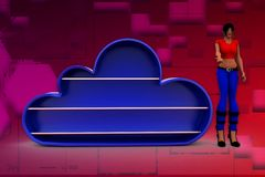 3d woman blue cloud illustration Royalty Free Stock Images