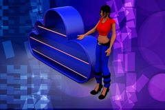3d woman blue cloud illustration Stock Photo