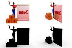 3d woman 100% board Concept Collections With Alpha And Shadow Channel Stock Photography