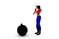 3d woman bomb concept Stock Photos