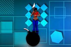 3d woman bomb illustration Royalty Free Stock Photos