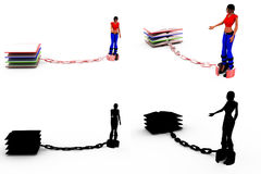 3d woman book chain concept Collections With Alpha And Shadow Channel Stock Photo