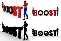 3d woman boost Concept Collections With Alpha And Shadow Channel Royalty Free Stock Photos