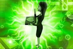 3d woman with borken heart on laptop keyboard illustration Royalty Free Stock Photos