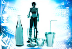 3d woman with bottle and classes for drink illustration Royalty Free Stock Photography