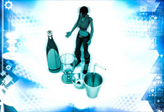 3d woman with bottle and classes for drink illustration Stock Photography