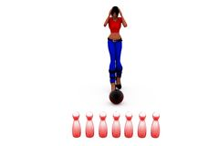 3d woman bowling concept Stock Images