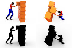 3d woman box storage concept Collections With Alpha And Shadow Channel Stock Photos