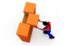 3d woman box storage concept Stock Photography