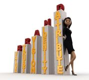 3d woman with brand growth graph bars concept Royalty Free Stock Image