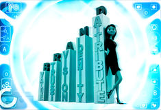 3d woman with brand growth graph bars illustration Royalty Free Stock Photo