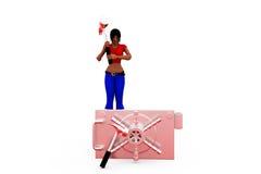 3d woman break locker concept Royalty Free Stock Image